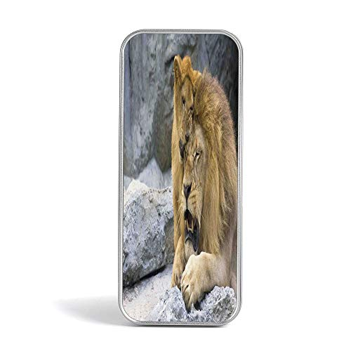 Tin Pencil Case,Safari Decor,Pen Case Organizer for School Office Home,Big Lion with Little Cub Stone Cave Playful Sweet Tenderness Animal Affection Nature