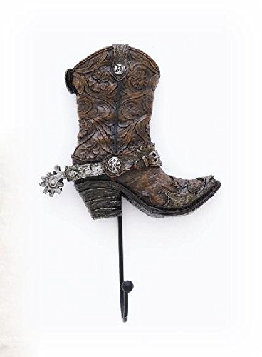 6.5 Inch Brown Cowboy Boot with Spur Wall Hook Holder