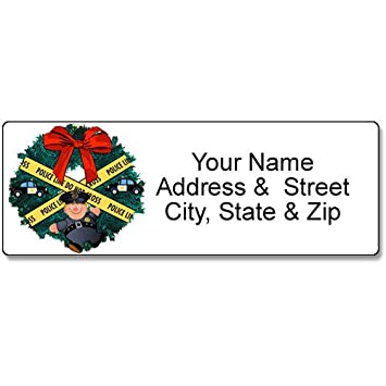 amazon com police holiday address label christmas customized