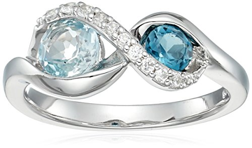 Blue Topaz Lab (Sterling Silver London Blue Topaz and Sky Blue Topaz and Lab Created White Sapphire Ring, Size 6)