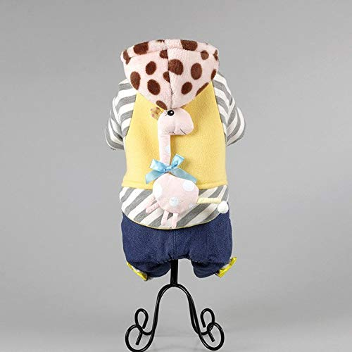 BeesClover Hot Autumn Season Cotton pet Dog Clothes Buttons with Cap Multicolor Mosaic Animation Clothing B 28 cm to 29cm