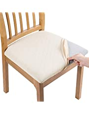 smiry Stretch Jacquard Dining Chair Seat Covers, Removable Washable Anti-Dust Upholstered Chair Seat Cover for Dining Room, Kitchen, Office (Set of 4, Beige)