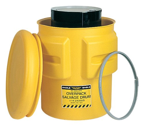 eagle-1665-yellow-blow-molded-hdpe-metal-band-salvage-drum-with-bolt-lid-65-gallon-capacity-39-heigh