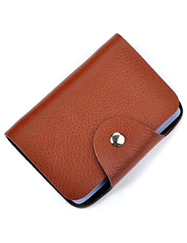 (Aladin Unisex Small Leather Credit Card Holder with 26 Plastic Card Slots Brown)