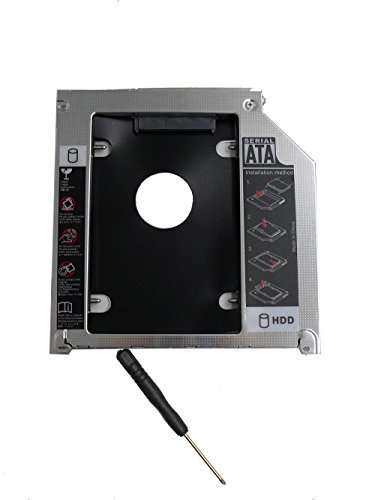 ZXUY Hard Drive SATA 2nd HDD Caddy Tray for Unibody 9.5mm Laptop CD/DVD-ROM Drive Slot (Replacement Only for SSD and HDD) ()