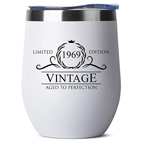 1969 50th Birthday Gifts for Women Men | Vintage Aged to Perfection Stainless Steel Tumbler | 12 oz White Tumblers w Lid | Funny Gift Ideas for Him Her Husband Wife Mom Dad | Insulated Cups 50 th bday