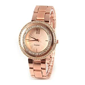 Women Paidu Strips Hour Marks with Round Dial Quartz Watch Steel Watchband 58938 (Rose Gold Dial)