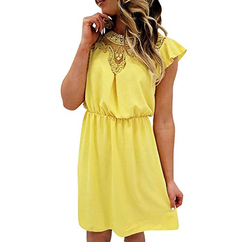 BCDshop Women Fashion Ruffles Short Sleeve Lace Patchwork Mini Dress Elastic Waist Elegant Short Dresses (S, Yellow)