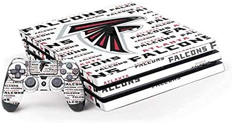 Skinit Decal Gaming Skin Compatible with PS4 Pro Console and Controller Bundle - Officially Licensed NFL Atlanta Falcons White Blast Design