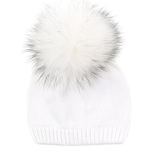 GZHILOVINGL 6-36 Month Kids Knit Pom Beanie Hat, Baby Winter Cotton Crochet Bonnet (Vanilla Ice Wig)