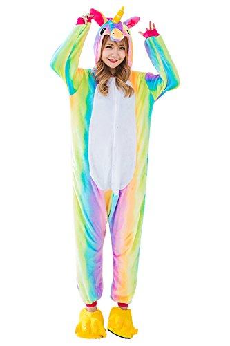 Kids Unicorn Onesie Pajamas Costume for Halloween Cosplay L, Rainbow (Adult) for $<!--$27.99-->