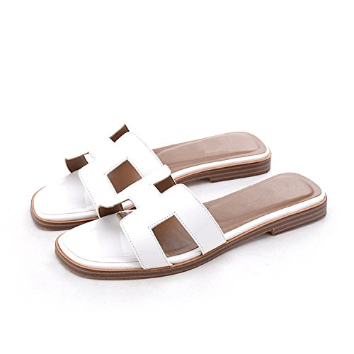 Slipper Designer Lady Designer Cow Flats Women Slide Genuine Jwhui patent H Slippers Really Women Luxury Shoes white Fashion Leather leather Sandals Brand BFwpxd0