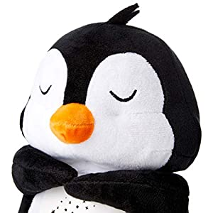 AussQ Baby White Noise Sound Machine for Sleeping, Plush Toys for Babies, Night Light Projector, Baby Sleep Soother, Baby Music Lullaby Machine, Best Baby Shower Gift, Stuffed Animal Penguin.