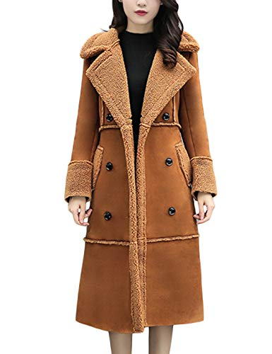Double Breasted Long Suede Shearling Sherpa Lined Winter Coat (Large, Brown) ()