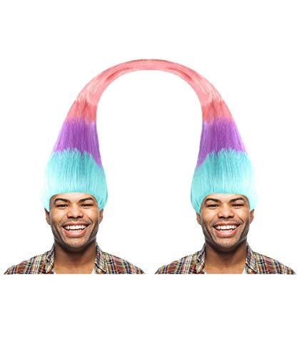 Halloween Party Online Twin Troll Wig, Multicolored Adult -
