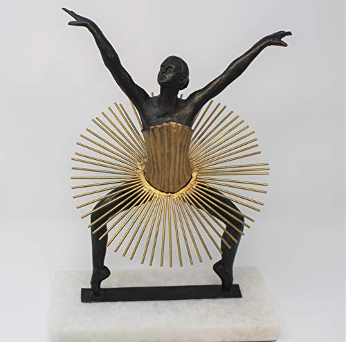 Global Views Luxe Art Deco Modern Ballerina Sculpture | Gold Iron Ballet Dancer Woman ()