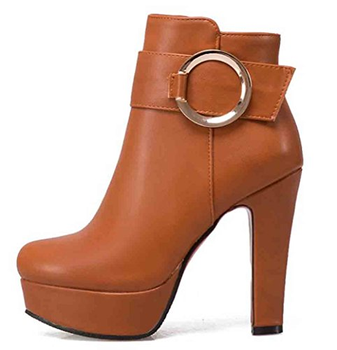 Easemax Womens Ankle Boots Tacco Alto In Vacchetta Tonda Tacco Alto In Vacchetta Marrone