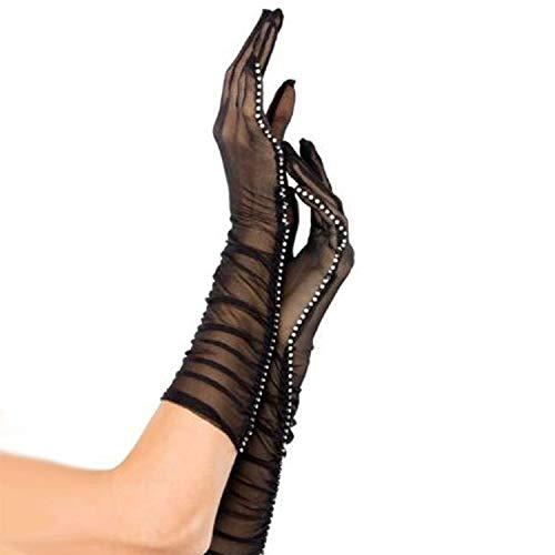 (Rhinestone Mesh Sheer Gloves - Elegant Gauntlet Costume Accessories for Wedding Evening Party Opera Black,14inch (Color : Black))