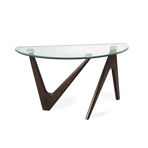 Magnussen Garvin Demilune Sofa Table in Distressed Nutmeg - Magnussen Glass Table