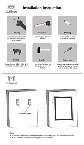 Bathroom Mirror with Lights, Modern LED Mirrors for Wall with Defogger + UL Listed + IP44 Waterproof + 6000K Cool White + CRI>85 + Horizontal or Vertical Installation + Ultra-Thin (27''X 35'') by LtMirror (Image #6)