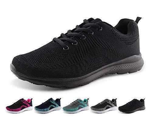 Jabasic Women Lightweight Road Running Knit Shoes Casual Mesh Walking Sneakers (9 B(M) US, Black/Black-1)