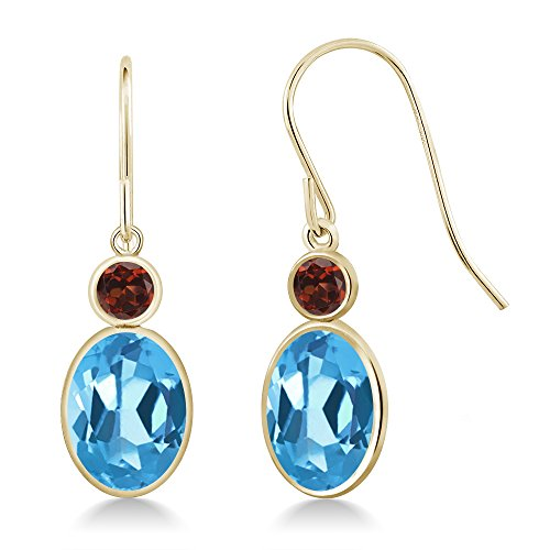 Gem Stone King 3.24 Ct Oval Swiss Blue Topaz Red Garnet 14K Yellow Gold Earrings