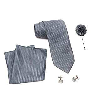 Axlon Men's Polyester Necktie Set with Pocket Square, Lapel Pin and Cufflinks (Free Size)