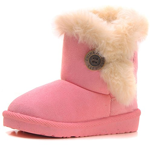 IOO Baby Girls Boys Plush-Filled Bailey Button Snow Boots Warm Winter Flat Shoes New Pink 29