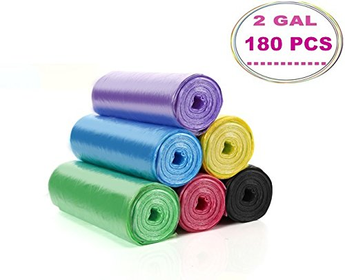 Colored Trash Bags - Cy3Lf 2 Gallon Small Trash Bags, Colored, 180 Counts/ 6 Rolls