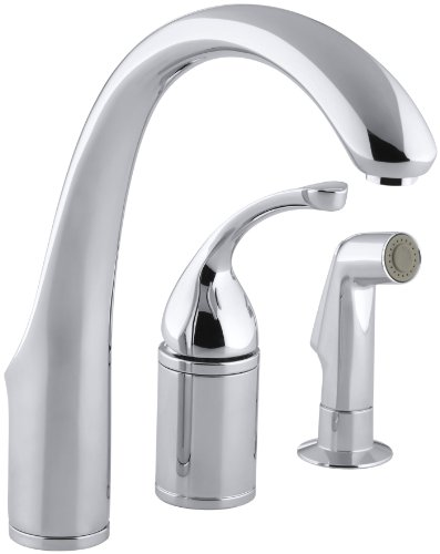 KOHLER K-10430-CP Forte Single Control Remote Valve Kitchen Sink Faucet with Sidespray and Lever Handle, Polished Chrome