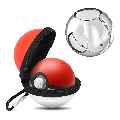 Carrying Case and Clear case for Nintendo Switch Poke Ball Plus Controller, Hard Cover Case and Storage Bag - Pokémon Accessories Kits for Lets Go Pikachu Eevee Game (Red Bag+Clear Case)