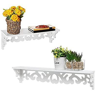MyGift White Cutout Scrollwork Design Wall-Mounted Floating Shelves, Set of 2 (16 inch and 24 inch) - A set of 2 contemporary wall-mounted shelves with glossy white finish. Features a 16-inch and 24-inch floating shelves with cutout scrollwork design for displaying books, collectibles, pictures and kitchen spices. Can be easily mounted to any wall with proper mounting hardware. - wall-shelves, living-room-furniture, living-room - 41zTHnaTizL. SS400  -