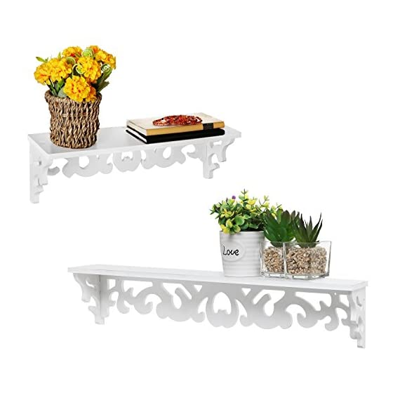 MyGift White Cutout Scrollwork Design Wall-Mounted Floating Shelves, Set of 2 (16 inch and 24 inch) - A set of 2 contemporary wall-mounted shelves with glossy white finish. Features a 16-inch and 24-inch floating shelves with cutout scrollwork design for displaying books, collectibles, pictures and kitchen spices. Can be easily mounted to any wall with proper mounting hardware. - wall-shelves, living-room-furniture, living-room - 41zTHnaTizL. SS570  -