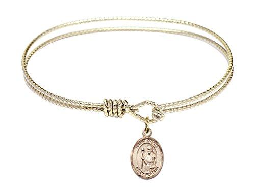 St. Regis-6 1/4 inch Oval Eye Hook Bangle Bracelet with a St. Regis charm.-Saint Regis is the patron saint of Social Worker/Lacemaker. Memorial Day June 16th.-Social Worker/Lacemaker (Regis Vase)