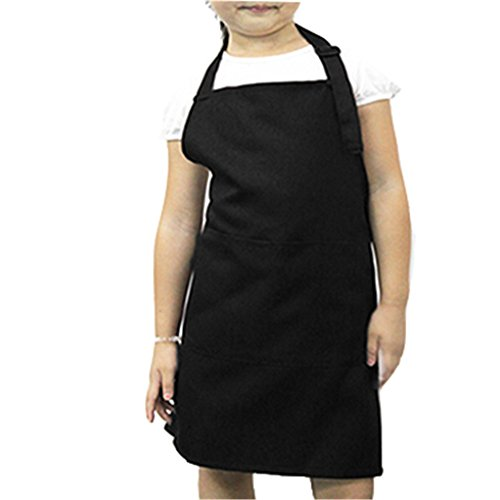 super1798 Kids Kitchen Cooking Baking Painting Art Keep Clean Pocket Bib Apron - Black
