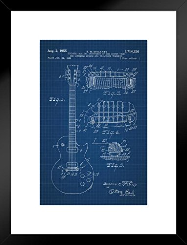 Poster Foundry Electric Guitar 1955 Official Patent Blueprint Matted Framed Wall Art Print 20x26 inch