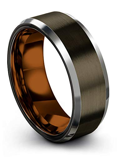 Chroma Color Collection Tungsten Carbide Wedding Band Ring 8mm for Men Women Copper Interior with Gunmetal Exterior Beveled Edge Brushed Polished Comfort Fit Anniversary Size 11.5 ()