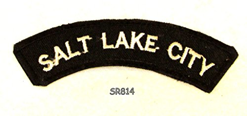 Salt Lake City White on Black Small Rocker Iron on Patches for Biker Vest and Jacket