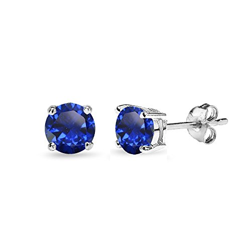 Sterling Silver Created Blue Sapphire 5mm Round-Cut Solitaire Stud Earrings by GemStar USA