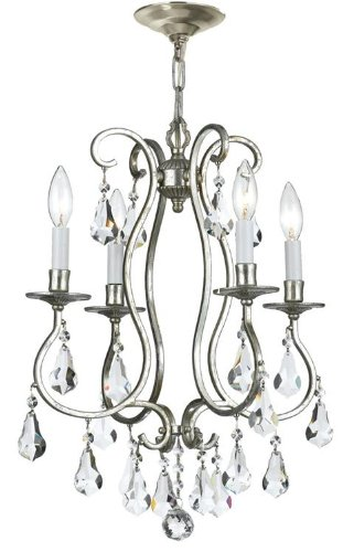 - Crystorama 5014-OS-CL-MWP Crystal Accents Four Light Mini Chandeliers from Ashton collection in Pwt, Nckl, B/S, Slvr.finish,