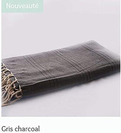 Générique - Futa tunecina, toalla de playa, 200 x 300 cm, 100 % algodón, pespuntes de color gris oscuro: Amazon.es: Hogar