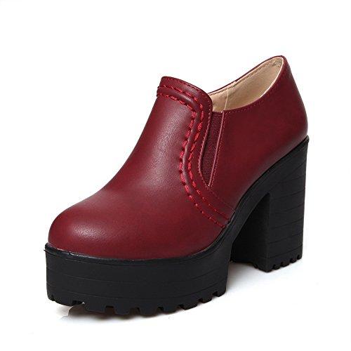 (BalaMasa Womens Elastic High-Heels Solid Burgundy Microfiber Pumps-Shoes - 10.5 B(M) US)