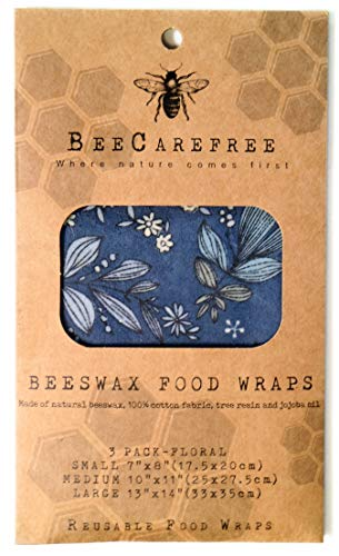 Bee Carefree- Reusable Beeswax Food Wraps-Wrappers/Papers- Small,Medium,Large Set- Variety Pack-Natural/Eco Friendly- Zero Waste- Cover your Bread/Sandwich-Replaces Cling Wrap or Plastic Wrap