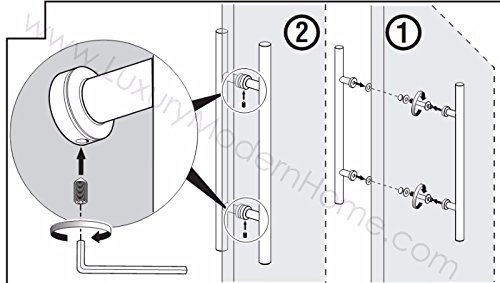 dh - 16'' Ladder Style Pull Shower Handle - Glass or Wood Door Stainless Steel 304 Modern Contemporary by www.LuxuryModernHome.com (Image #2)