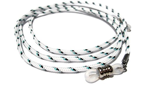 ATLanyards White with Black and Turquoise Eyeglass Cord, Eyeglass Holder, Eyeglass Chain, Clear Grips