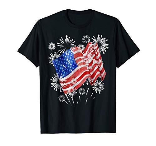 American Flag Fireworks Patriotic T shirt