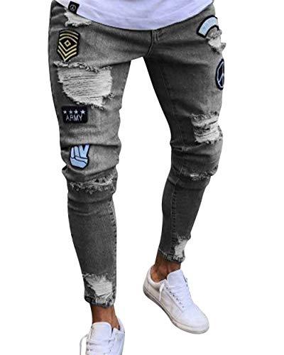 Taglio Uomo Slim Grau Pantaloni Comodo Strappati Battercake Denim Jeans Fit Skinny Con Da Conici CYxXv