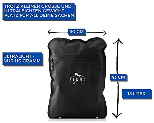 41zTKNrrecS SENNS GEAR® Wasserdichter Packsack 15 Liter - Ultralight, Wasserfeste Tasche, YKK Zip, Cordura Material inkl…