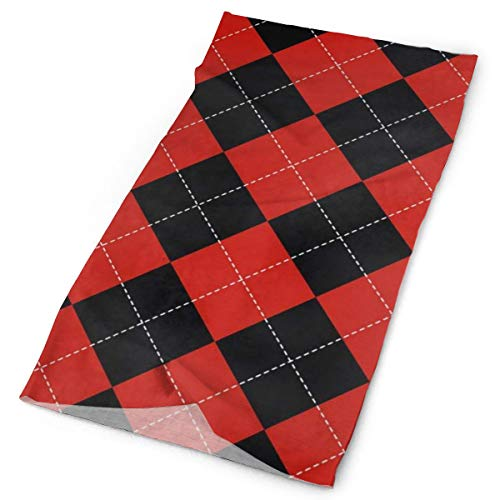 3713ff4032 Red And Black Plaid Mosaic Balaclava Womens Headband Scarf Mens Versatile  Bandana, Muffler, Neck