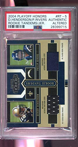 2004 Playoff Honors ROOKIE Tandems Philip Rivers Devery Henderson Jersey NFL Graded Football Card PSA AUTHENTIC ()